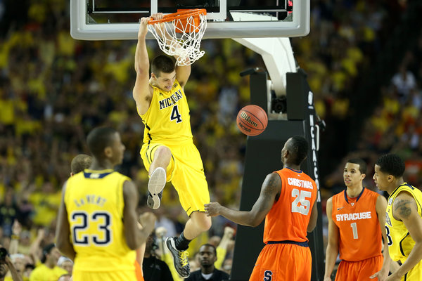 Mitch McGary will need to use his height advantage for Michigan to have a chance against Duke in the Big Ten/ACC Challenge (Getty Images).