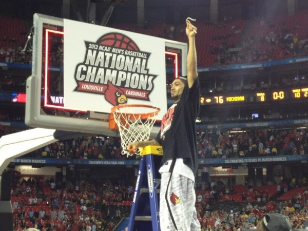 Team Leader Peyton Siva Celebrates His Piece of the Nets