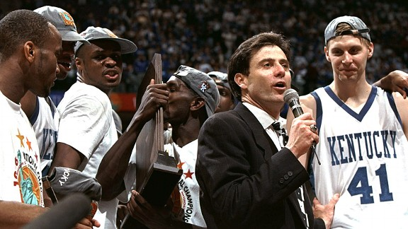 After coaching Kentucky to a national championship in 1996, Pitino can traverse the UK-UL battle lines and bring Louisville its own title (Getty Images).