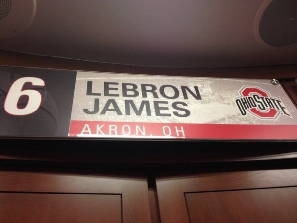 Another symbol of LeBron's OSU love, placed prominently in the team locker room, isn't a bad way to boost coach That Matta's recruiting efforts (Doug Lesmerises, Cleveland Plain Dealer).