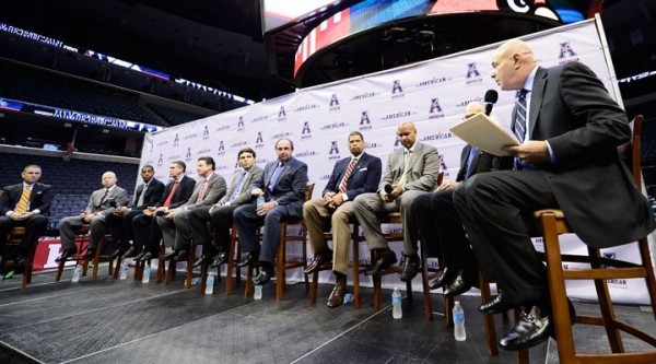 TheAmerican.org ESPN analyst Seth Greenberg (right) leads the discussion during a roundtable of AAC coaches at the conference's first media day Wednesday in Memphis.
