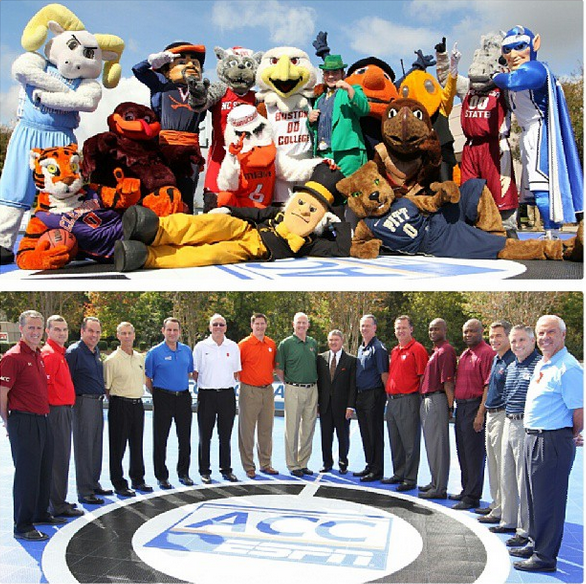 The 15 Coaches and Mascots Assembled at ACC Media Day Last Week (credit: ACC)