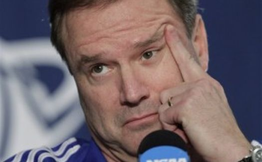 Phew! It's just Bill Self's index finger. (AP Photo)