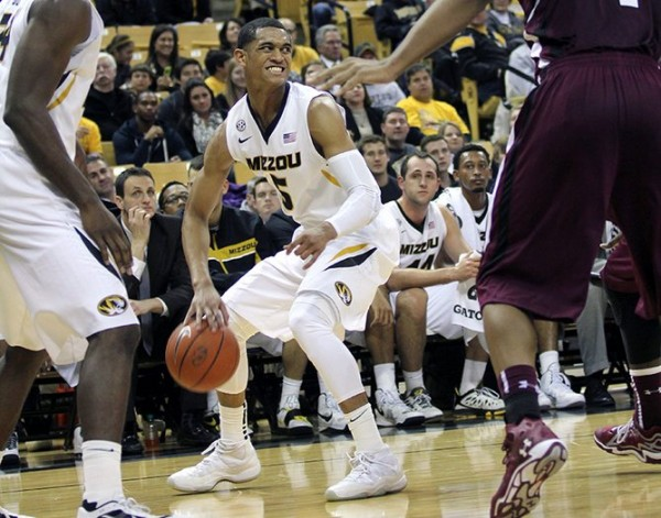 Missouri's Jordan Clarkson was saddled with foul trouble in the first half, but he made up for it after the intermission, helping Missouri to a win over Hawaii on Saturday. (Mike Krebs/Maneater)