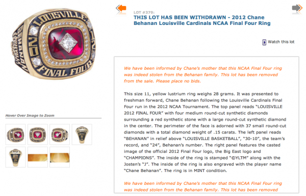 Behanan Ring Auction