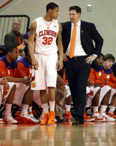 K.J. McDaniels and Coach Brad Brownell (Photo: clemsontigers.com)