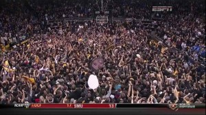 This was the scene in Boulder following Colorado's upset win over Kansas. (Screengrab via ESPN/The Big Lead)