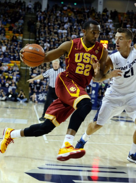 Junior Guard Byron Wesley Showing Off USC's Classic Look Road Uniforms (credit: Chris Nicoll)