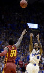 The game is slowing down for Kansas point guard Naadir Tharpe. (Rich Sugg/The Kansas City Star)