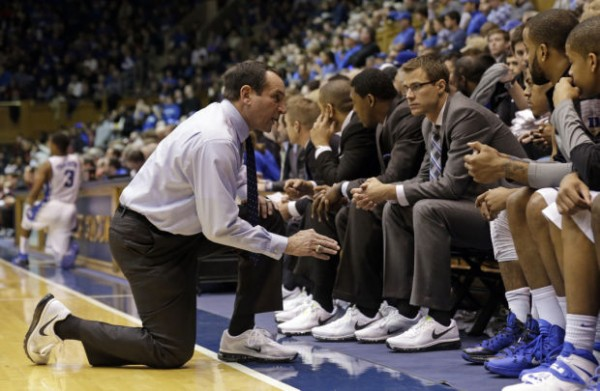 Mike Krzyzewski Fires up Duke During First Half versus Florida State. (AP Photo/Gerry Broome)