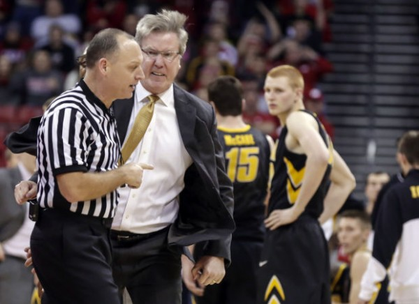 Fran McCaffery was suspended one game by the Big 10 for his actions on Sunday night against Wisconsin (Andy Manis/AP).