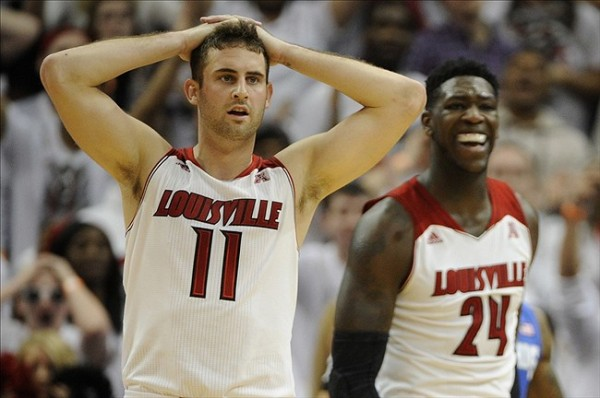 Luke Hancock (left) played his best game since the Final Four, but it wasn't enough for Louisville to beat Memphis. (Jamie Rhodes/USA TODAY Sports)