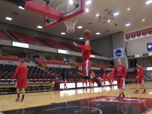 A Southern Utah player goes up for a slam dunk early in pregame warmups against Eastern Washington in Cheney, Wash. (Kenny Ocker/Rush The Court)