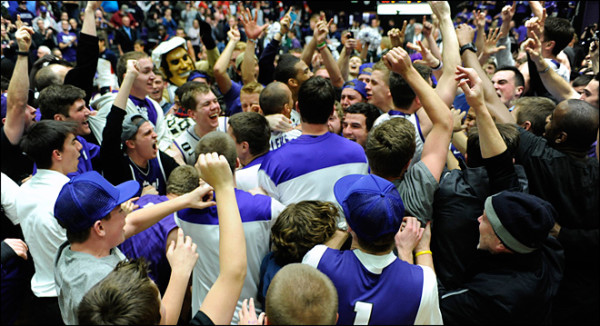 The Pilots had plenty reason to celebrate after knocking off Gonzaga. (AP Photo/Greg Wahl-Stephens)
