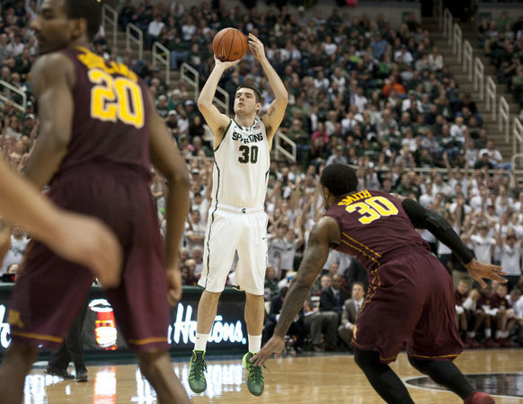 Kenny Kaminski has been a key shooter off the bench for Michigan State (J.Scott Park, Mlive.com).