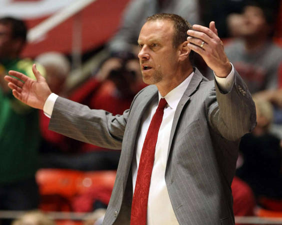 Larry Krystkowiak Mimicking Utah Fans' Reaction to the 2016-17 Schedule. (Kristin Murphy, Deseret News)