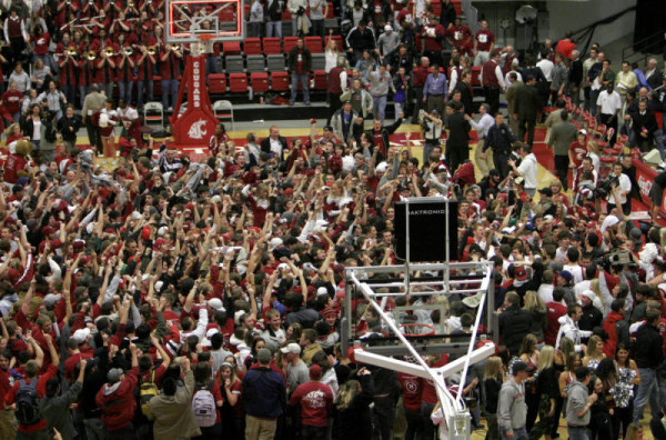 After Washington State Upset Gonzaga in 2006, Cougar Fans Filled The Court (Kody Whiteaker, AP Photo)