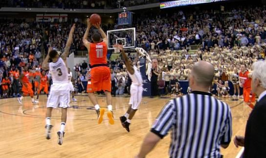 Tyler Ennis shocks Pittsburgh with this 35-foot miracle. (ESPN screenshot)