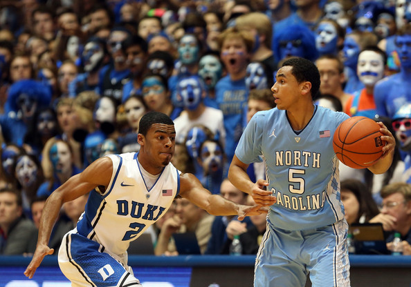 The Marcus Paige-Quinn Cook matchup is just one of the battles that will decide this Carolina-Duke tilt (credit: gettyimages)