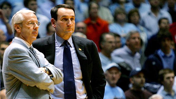 Roy Williams and Coach K bring contrasting squads together tonight in renewing their rivalry (credit: gettysports)