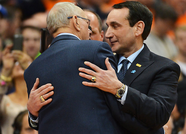 The Two Winningest All-Time Coaches are Hugging it Out For Bracketology (credit: SI.com)