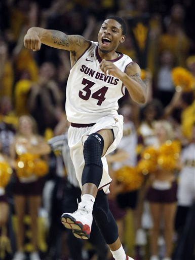 Senior Guard Jermaine Marshall Celebrates After Knocking Off #2 Arizona On Friday (credit: Matt York)