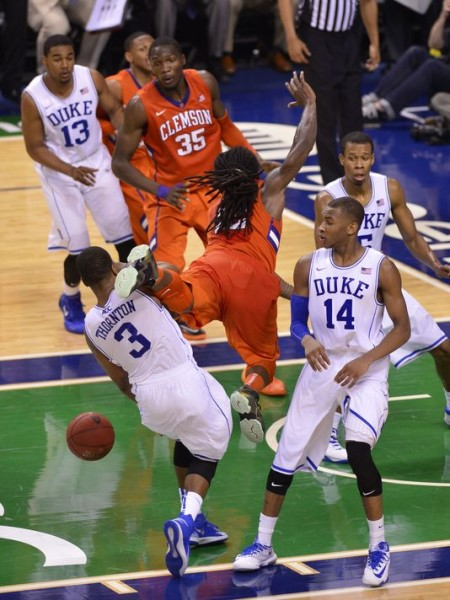 Clemson' Rod Hall Loses The Ball in Attempt to Upset Duke at the Buzzer. (Photo: Bob Donnan/USA TODAY Sports)