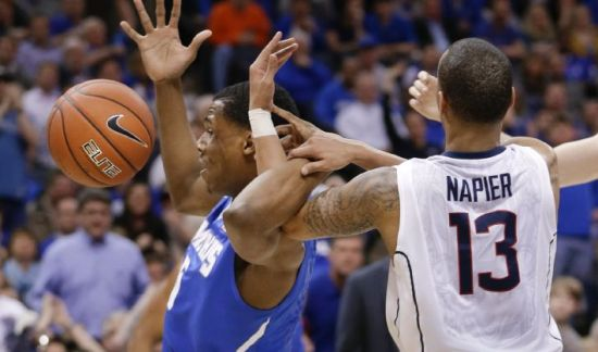 Shabazz Napier and UConn flustered Memphis for most of the night. (AP)