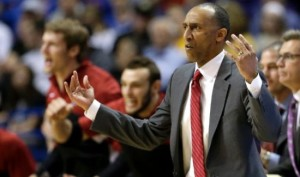 Stanford coach Johnny Dawkins reacts to a call during the first half of a second-round game against New Mexico in the NCAA college basketball tournament, Friday, March 21, 2014, in St. Louis. (AP Photo/Charlie Riedel)