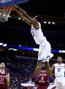 Andrew Wiggins and the Kansas Jayhawks pulled away from Eastern Kentucky late. (Andy Lyons/Getty Images)