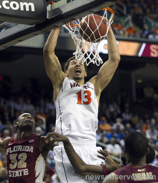 Virginia's Anthony Gill Slams Home Two of His 16 Points Off The Bench. (Photo: Robert Willett/newsobserver.com)