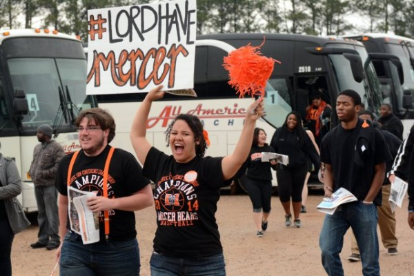 Mercer Bears fans cheer as they get off buses in front of PNC Arena. (Photo: Rob Kinnan/USA TODAY Sports)