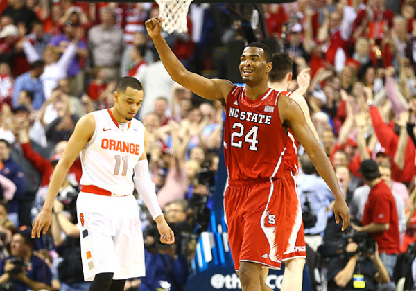 N.C. State's Star T.J. Warren Celebrates Upset Over Syracuse. (Photo: Streeter Lecka / Getty Images)
