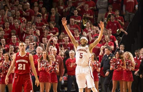 Terran Petteway(right) celebrates during Nebraska's 77-68 win over Wisconsin that could have clinched a spot in the field of 68 for the Cornhuskers. ( Bryan Anderson/Omaha World-Herald)