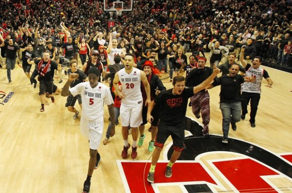The Show Rushes The Court Following The Aztecs' Stunning Win Over New Mexico Saturday Night