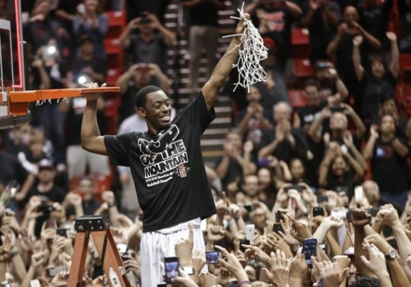 In Helping His Team Cut Down the Nets On Saturday Night, Xavier Thames Earned the RTC Mountain West Player of the Year (Lenny Ignelzi/AP)