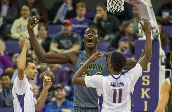 UC Irvine's Mamadou Ndiaye terrorizes opponents down low. (Dean Rutz – Seattle Times)