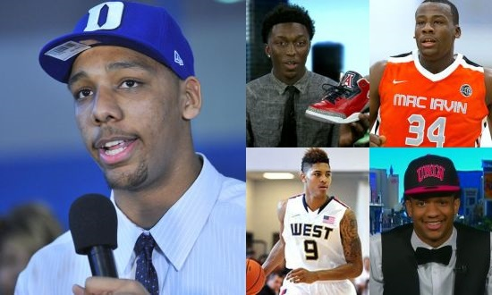Duke's Jahlil Okafor is the favorite (left) but the guys on the right (Arizona's Stanley Johnson,