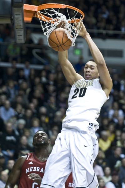 AJ Hammons notched a double-double in Purdue's home court win over Michigan on Saturday. (Purdue Exponent)