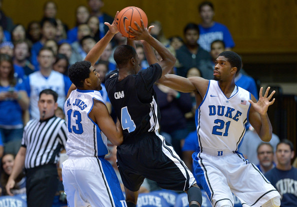 Matt Jones (#13) and Amile Jefferson (#21) are part of an improved Blue Devil Defense. (Photo: Grant Halverson/Getty Images North America)