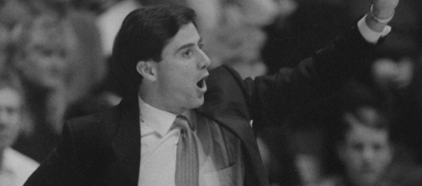 Rick Pitino during Kentucky's 150-95 loss to Kansas in 1989 (photo courtesy of KUsports.com).