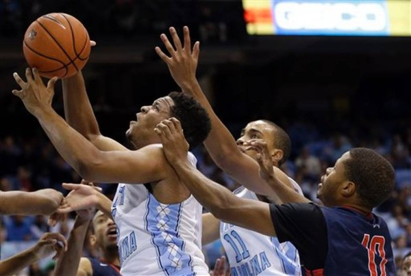 Kennedy Meeks (left) and Brice Johnson (#11) give North Carolina a Powerful Inside Game. (AP Photo/Gerry Broome)