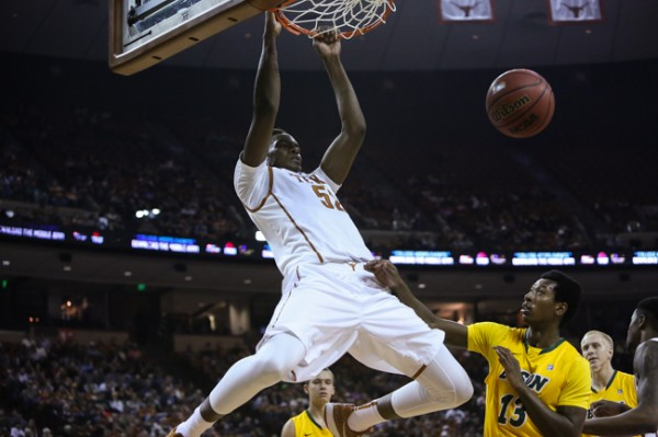 Newcomer Myles Turner made a huge impression with two strong performances over the weekend. (Jenna VonHofe/Daily Texan)