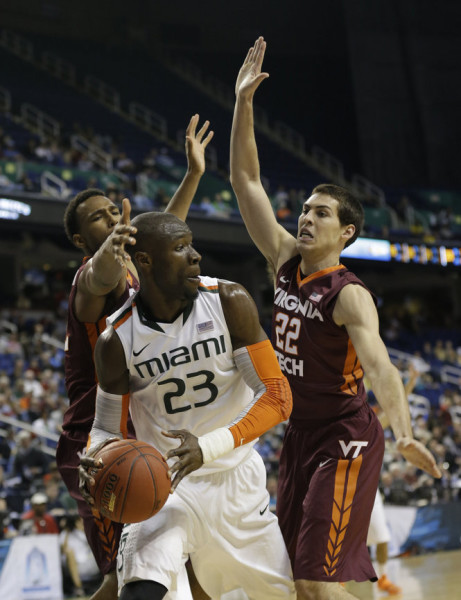 Tonye Jekiri has been a defensive force so far for Miami. (Gerry Broome, AP)