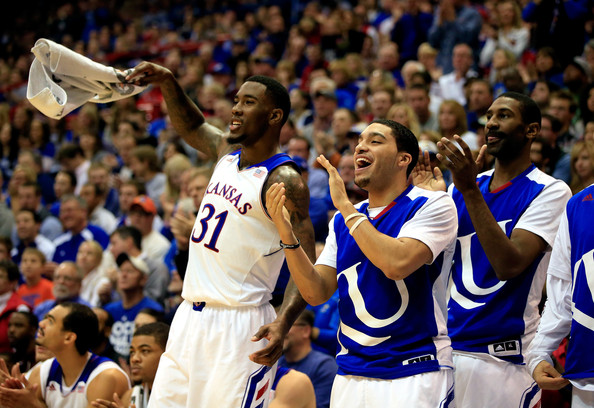 Jamari Traylor will be on the bench when Kansas takes on Georgetown (Jamie Squire/Getty Images)