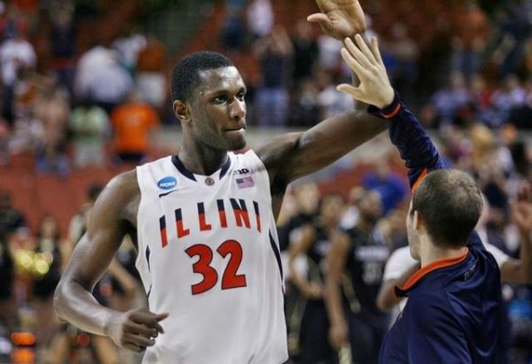 Nnanna Egwu covers up a lot mistakes on defense for the Illini.