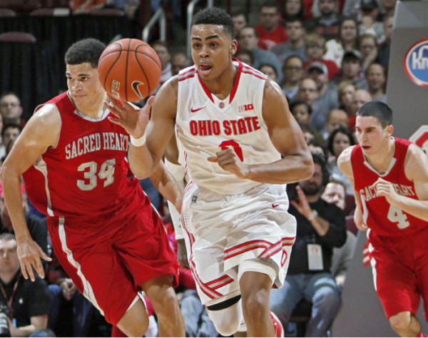 D'Angelo Russell continues notched a double-double on Sunday as Ohio State beat Indiana. (Kyle Robertson, Columbus Dispatch)