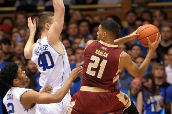 Olivier Hanlan played well against Duke but needs more help. (Lance King/Getty Images)