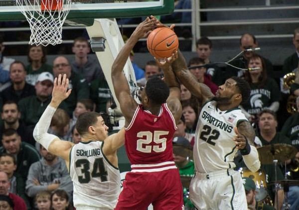 Branden Dawson (right) had a huge hand in Michigan State's 70-50 win over Indiana on Monday. (Amanda Ray | MLive.com)