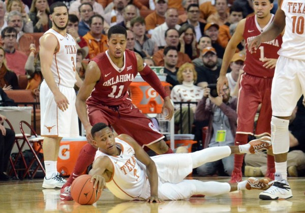 Texas guard Demarcus Holland attempts to grab the ball on this Longhorn possession. However, the game was out of UT's reach as they lost by 21. (Brendan Maloney/USA Today Sports)